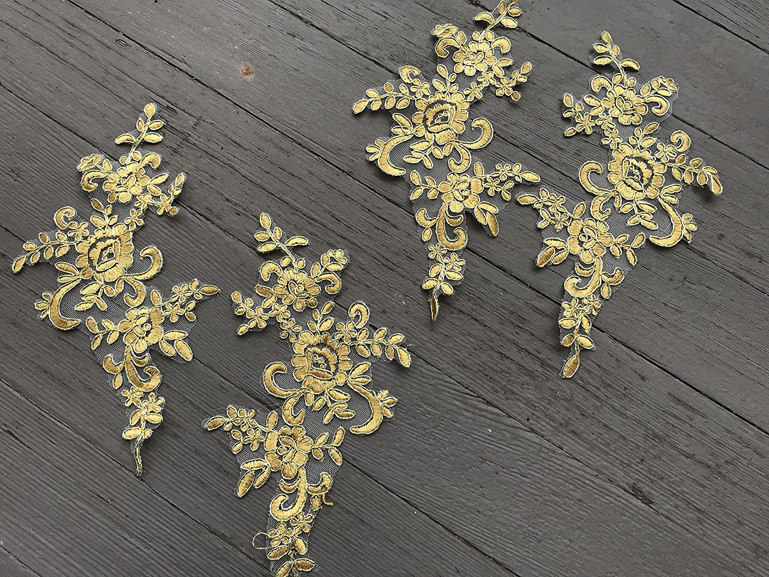 Amazon a two pairs gold color lace appliques wedding