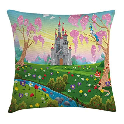ambesonne cartoon decor throw pillow cushion cover by fairy tale castle scenery in floral garden