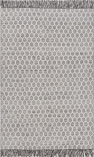 nuLOOM BeeHive Tassel Wool Rug, 8 6 x 11 6 , Grey