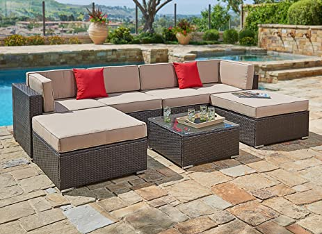 Suncrown Outdoor Furniture Sectional Sofa Set (7 Piece Set) All Weather  Brown