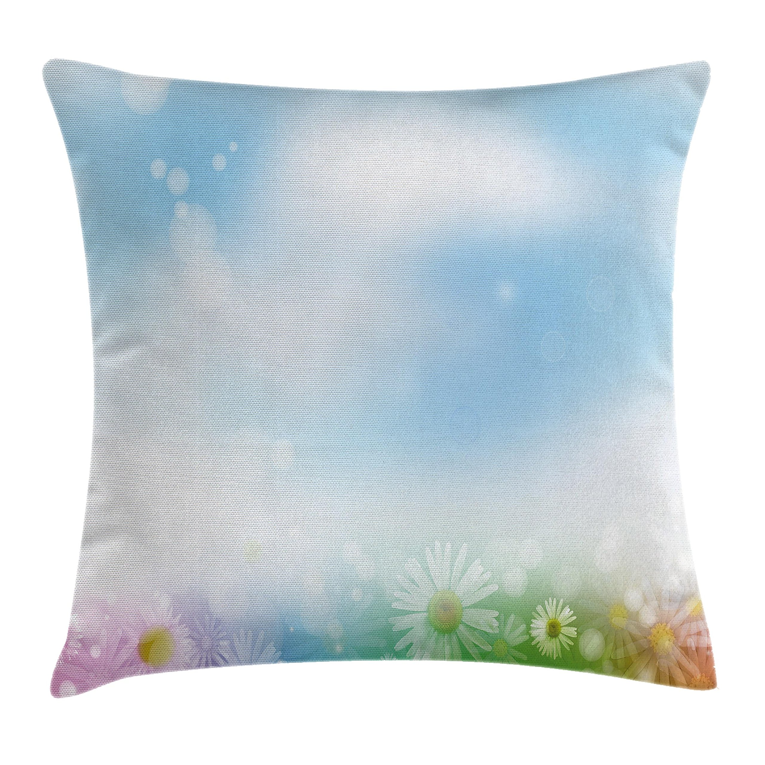 Modern Decor Throw Pillow Cushion Cover by Ambesonne, Abstract Image Flowers Daisies Leaves Bright Sunbeams Lights Artwork, Decorative Square Accent Pillow Case, 18 X18 Inches, Baby Blue Green Pink