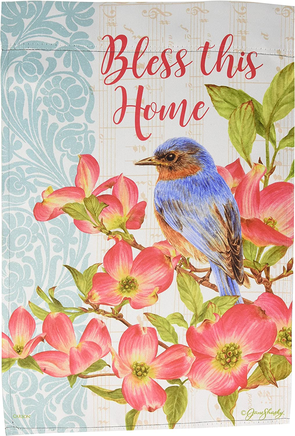 Carson Home Accents FlagTrends 46942 Bluebird and Dogwood Classic Outdoor Garden Flag