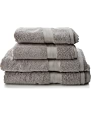 Pinzon - Juego de toallas de algodón Pima (2 toallas de baño + 2 toallas de mano), color platino