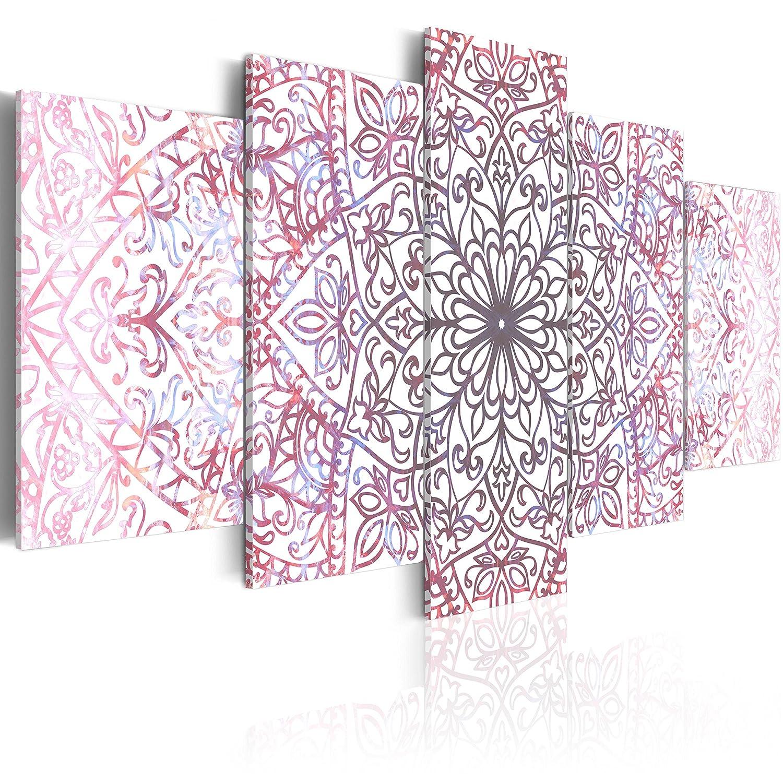 BD XXL murando - Impression sur Toile - 100x50 cm - 5 Pieces - Image sur Toile - Images - Photo - Tableau - Motif Moderne - Décoration - tendu sur Chassis - Mandala Orient Ornament f-C-0132-b-n