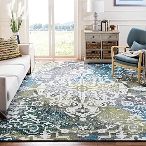 Safavieh Watercolor Collection Ivory and Peacock Blue Area Rug, 9 x 12