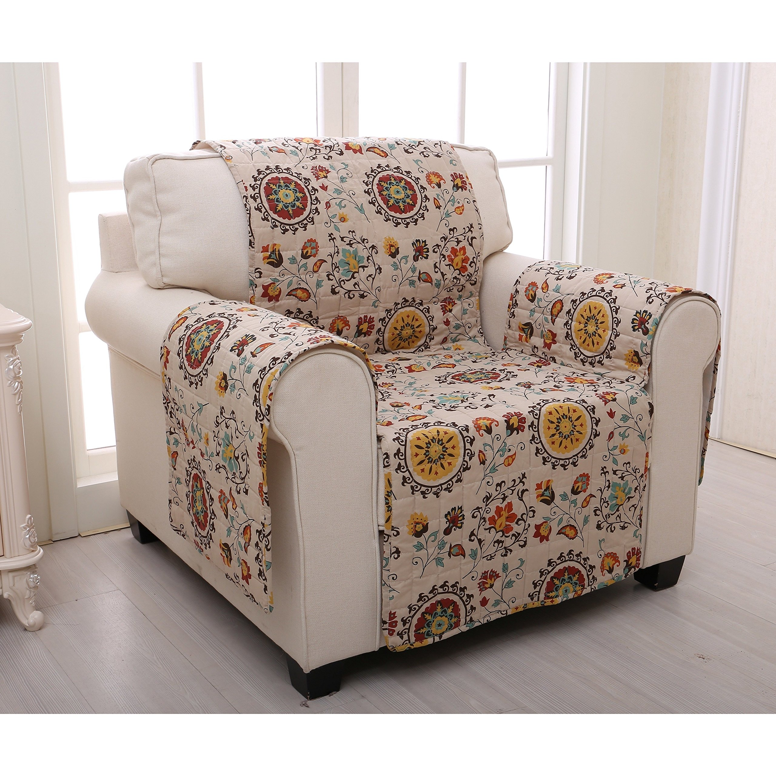 MN 1 Piece White Red Floral Theme Chair Protector, Geometric Flower Pattern Couch Protection Flowers Roses Leaves Furniture Protection Cover Pets Animals Covers Nature Reversible, Polyester