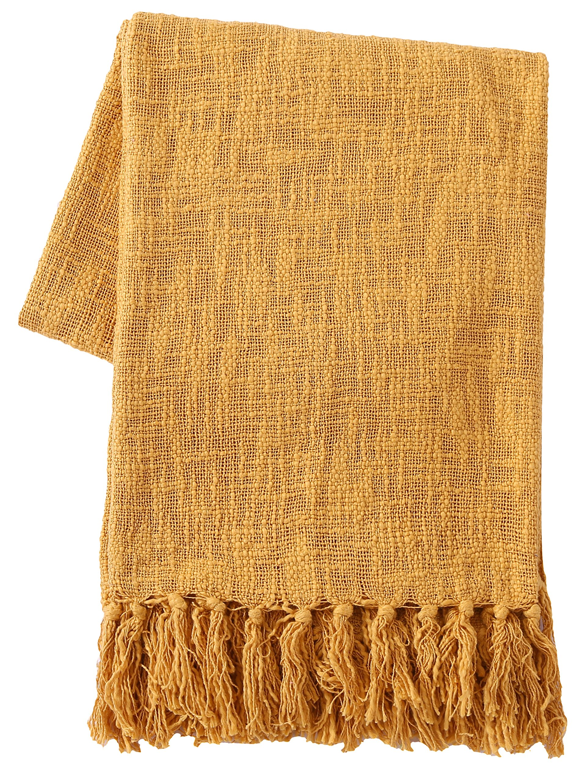 SLPR 100% Cotton Throw Blanket with Fringes (50'' x 60'', Mustard) | Soft Washable Woven Throw for Sofa Chair Picnic Camping Beach Everyday Use