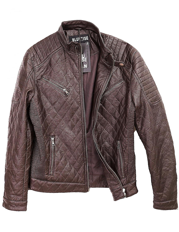 24brands - Men Biker Jacket pilots Short jacket leather look leatherette zipper - 2992