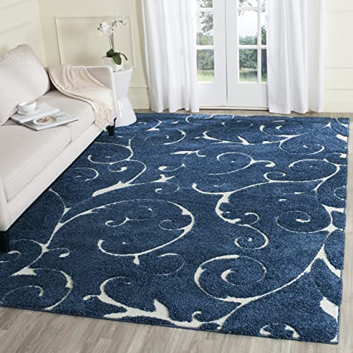 Safavieh Florida Shag Collection SG455-6511 Scrolling Vine Dark Blue and Cream Graceful Swirl Area Rug 8 x 10