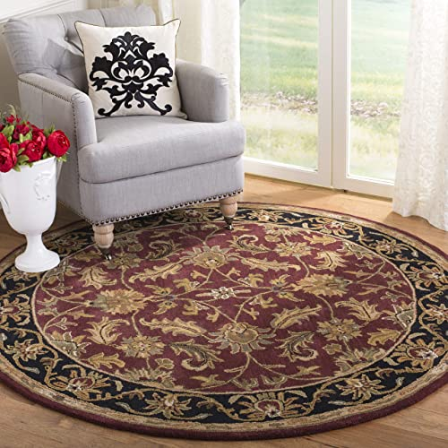 Safavieh Heritage Collection HG628C Handcrafted Traditional Oriental Red and Black Wool Round Area Rug 4' Diameter