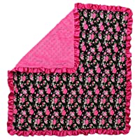 Dear Baby Gear Baby Blankets, Vintage Floral Hot Pink on Black, Hot Pink Minky,...