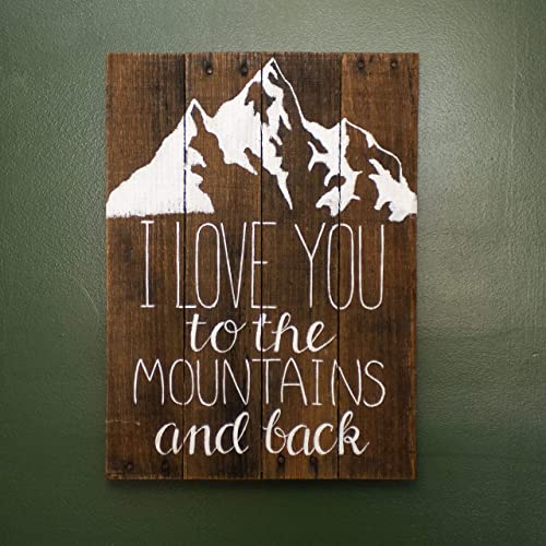 14 x 20 I Love you to the Mountains and Back Pallet Wood sign – Mountain wedding sign – Rustic Wedding Sign