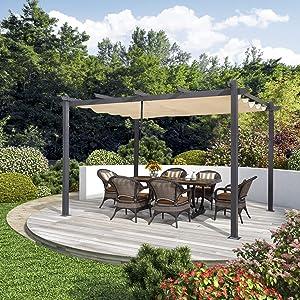 PURPLE LEAF 10' X 13' Aluminum Outdoor Retractable Canopy Pergola Deck Garden Patio Gazebo Grape Trellis Pergola, Beige
