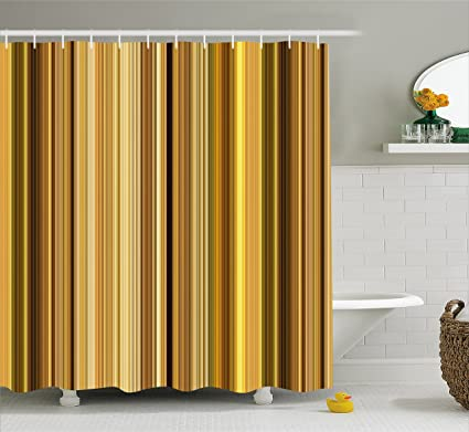 Lunarable Yellow And Brown Shower Curtain Abstract Earthen Toned Vertical Lines Band With Blurry Effect