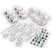 Princess Pretend Play Set - Easter Tiara Dress Up Play Set - Crowns, Wands, and Jewels - Princess Girls Party Favors - Princess Costume Party Play Set, (12 Princess Crown Tiaras, 12 Wands, 24 Rings)