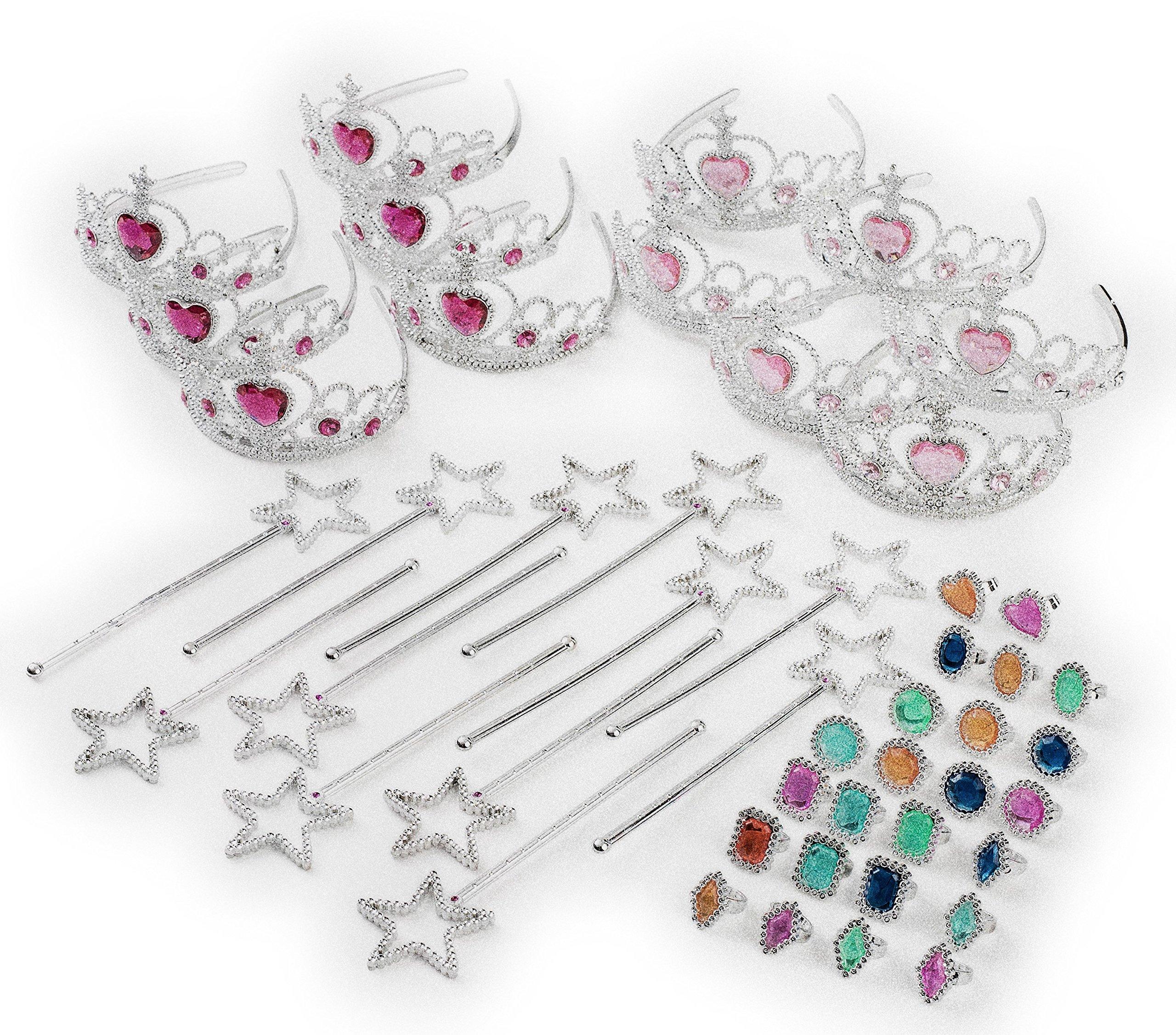 Princess Pretend Play Set - Easter Tiara Dress Up Play Set - Crowns, Wands, and Jewels - Princess Girls Party Favors - Princess Costume Party Play Set, (12 Princess Crown Tiaras, 12 Wands, 24 Rings) by Neliblu (Image #1)