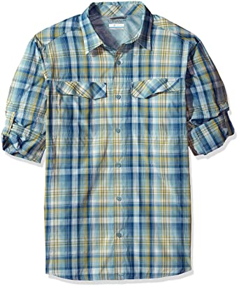 130ab6a86d0 Columbia Men's Silver Ridge Plaid Long Sleeve Shirt, Medium, Stone Blue  Plaid