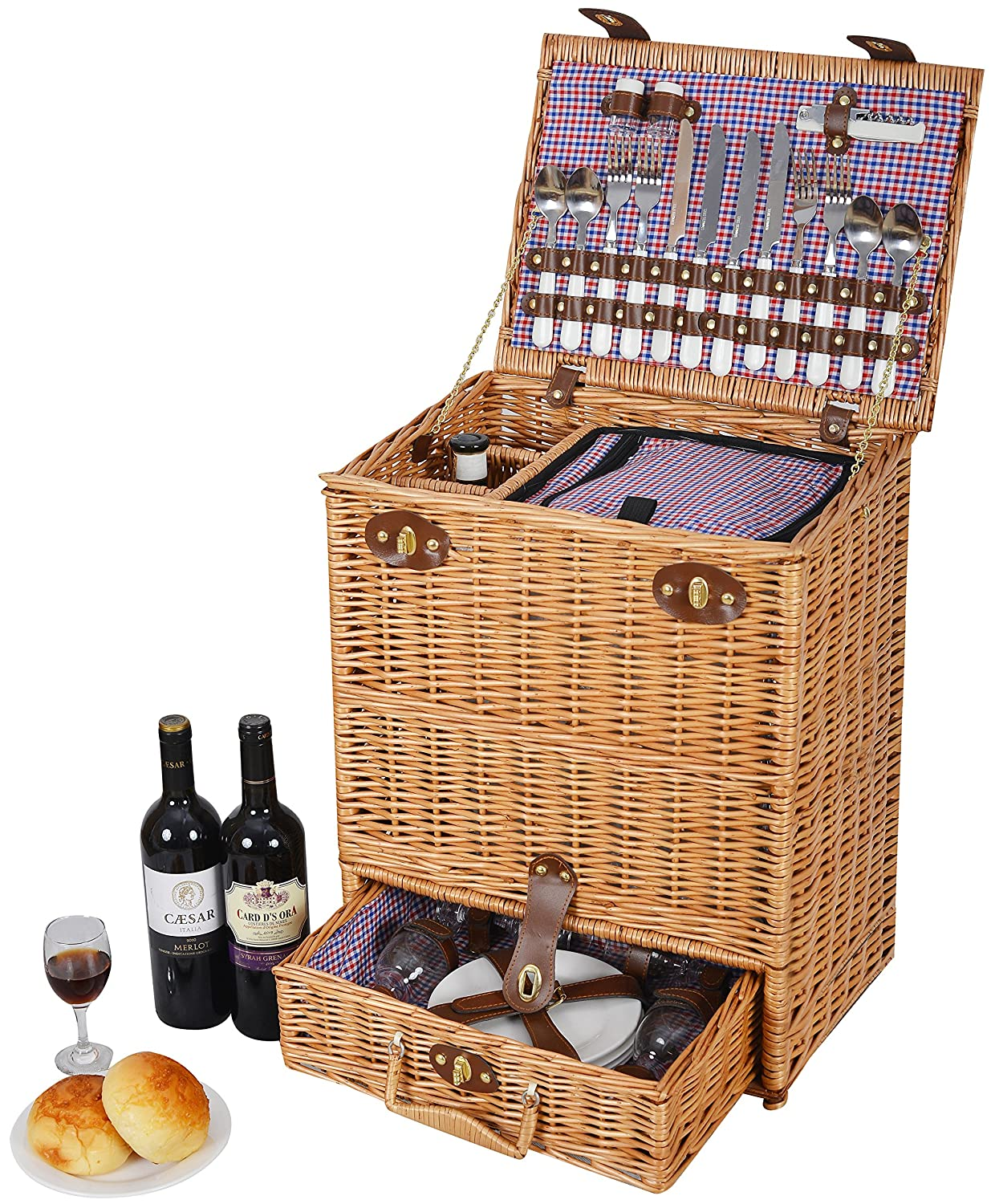 Cutlery with Telescopic Handle and Wheels Vivo Country /© Ultimate 4 Person Picnic Basket