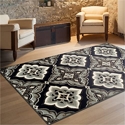 Superior Crawford Collection Area Rug, 8mm Pile Height with Jute Backing, Gorgeous Mediterranean Tile Pattern, Fashionable and Affordable Woven Rugs – 8 x 10 Rug, Black