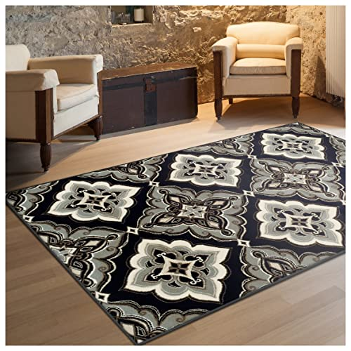 Superior Crawford Collection Area Rug, 8mm Pile Height with Jute Backing, Gorgeous Mediterranean Tile Pattern, Fashionable and Affordable Woven Rugs – 5 x 8 Rug, Black