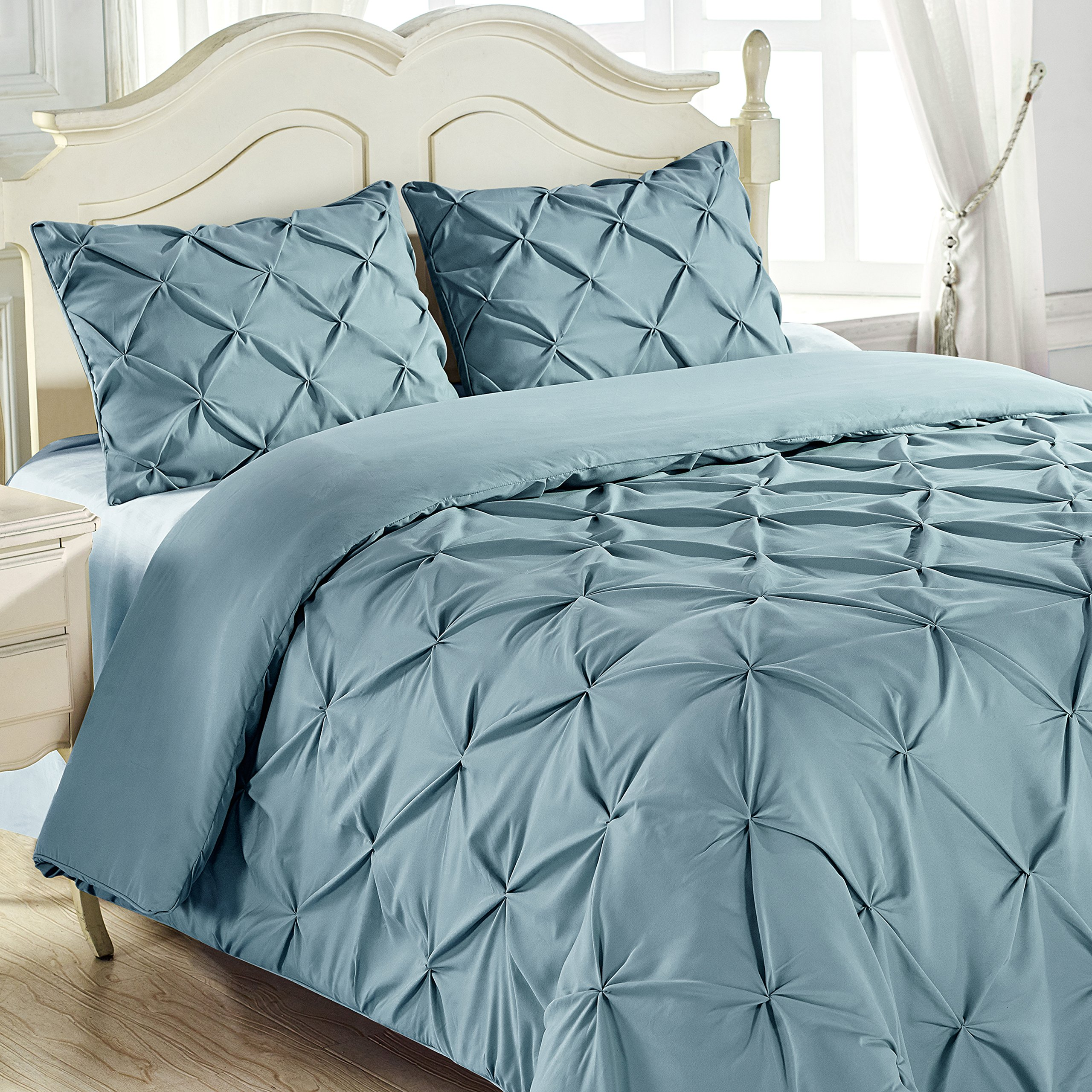 King & Queen Home Reinforced Double Stitch 3 Piece Pinch Pleat Comforter Set (Cali King, Spa Blue)