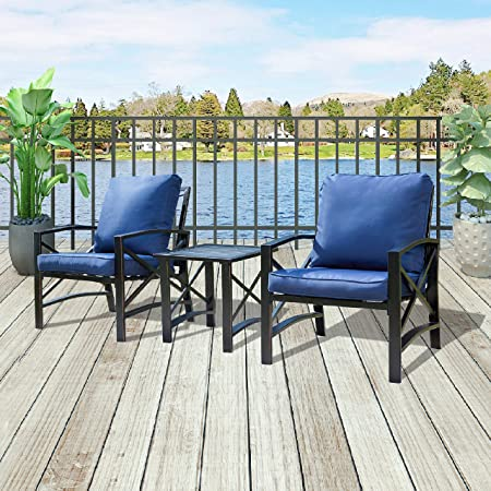 Patio Festival Bistro Set Outdoor,3 PCs All Weather Padded Cushion Conversation Set with Coffee Table or Porch,Garden,Backyard or Indoor 3 PCS, Blue