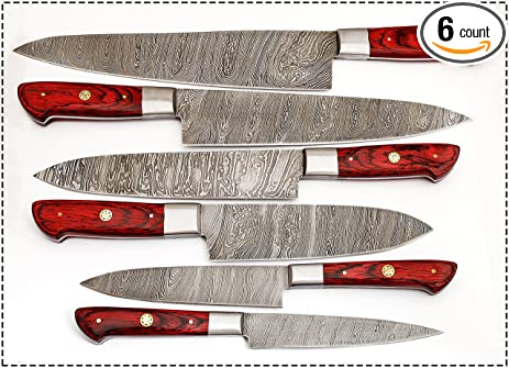 06 Pcu0027s Custom Damascus Steel Kitchen Knife Set 1071 ...