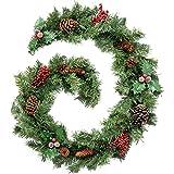 WeRChristmas -  Ghirlanda natalizia lunga 180 cm, effetto pino naturale con bacche, decorata