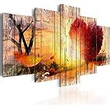 murando Quadro 200x100 cm 5 Pezzi Stampa su Tela in TNT XXL Immagini Moderni Murale Fotografia Grafica Decorazione da Parete Natura Vintage Herbst Paesaggio Amore Cuore c-C-0065-b-n