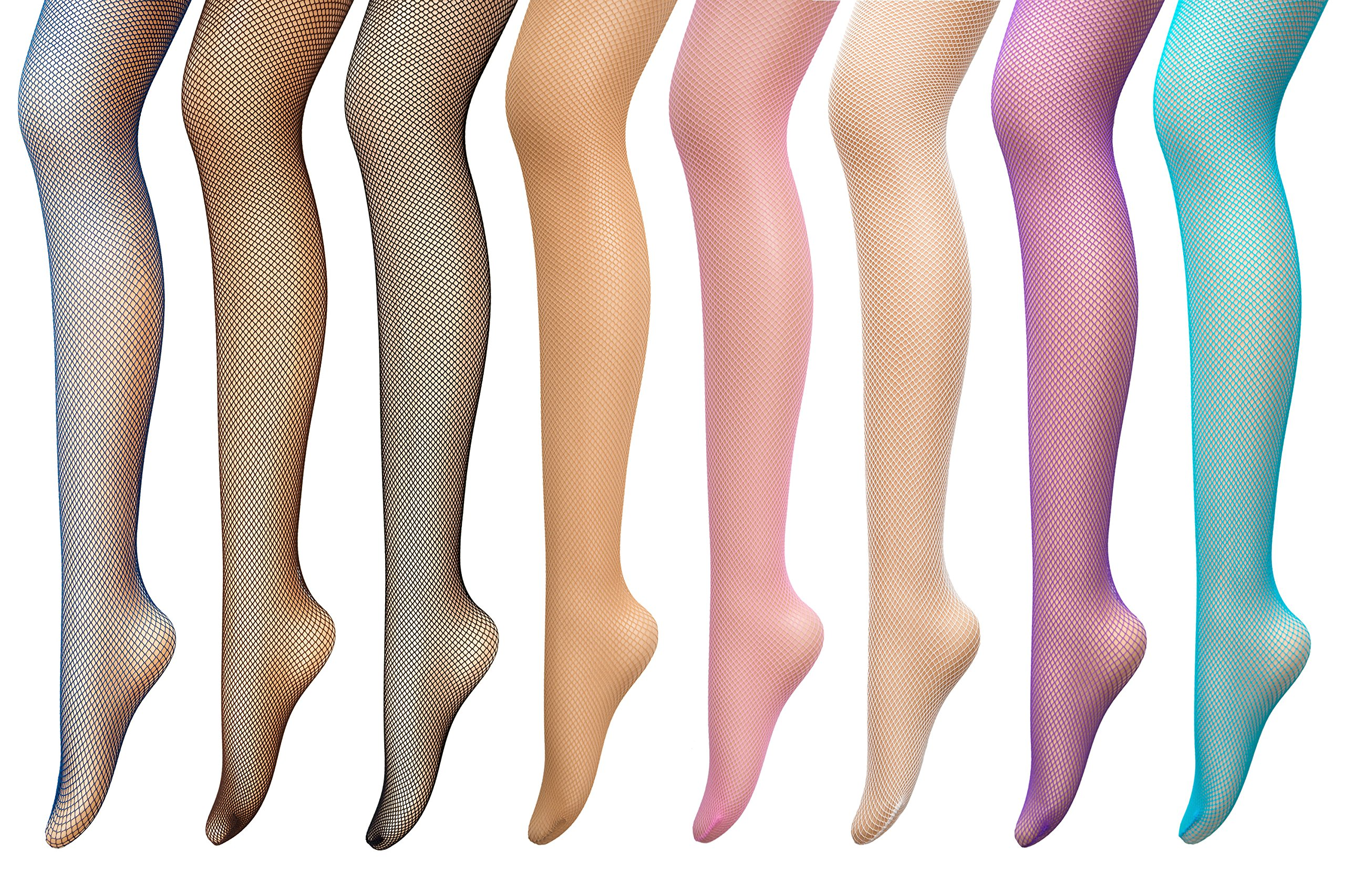 PreSox Fishnet Tights Seamless Nylon Mesh Stockings Control Top Sheer Pantyhose for Women Girls, One Size, 8p