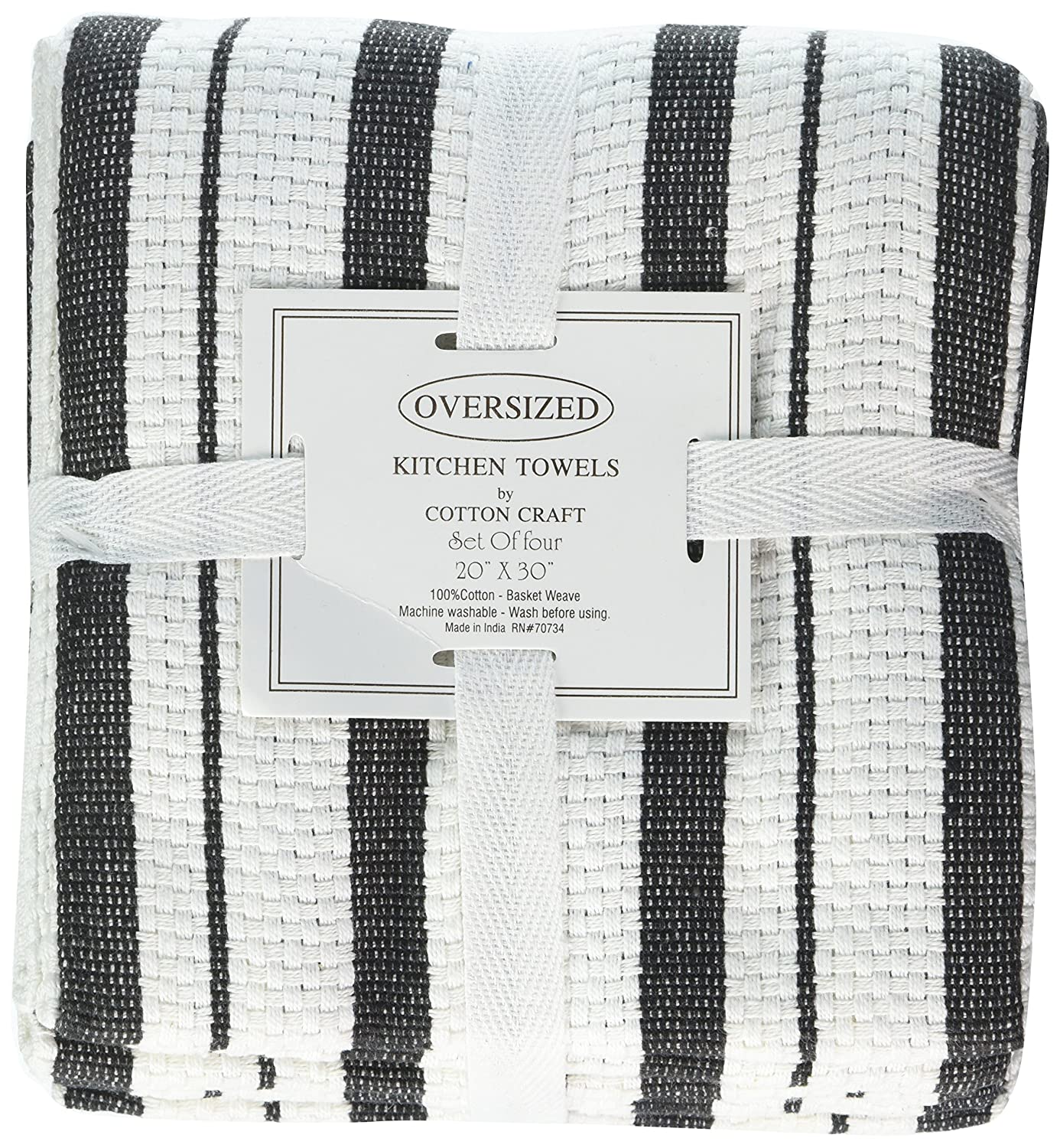 Amazon.com: Cotton Craft - 4 Pack Oversized Kitchen Towels, 20x30 ...