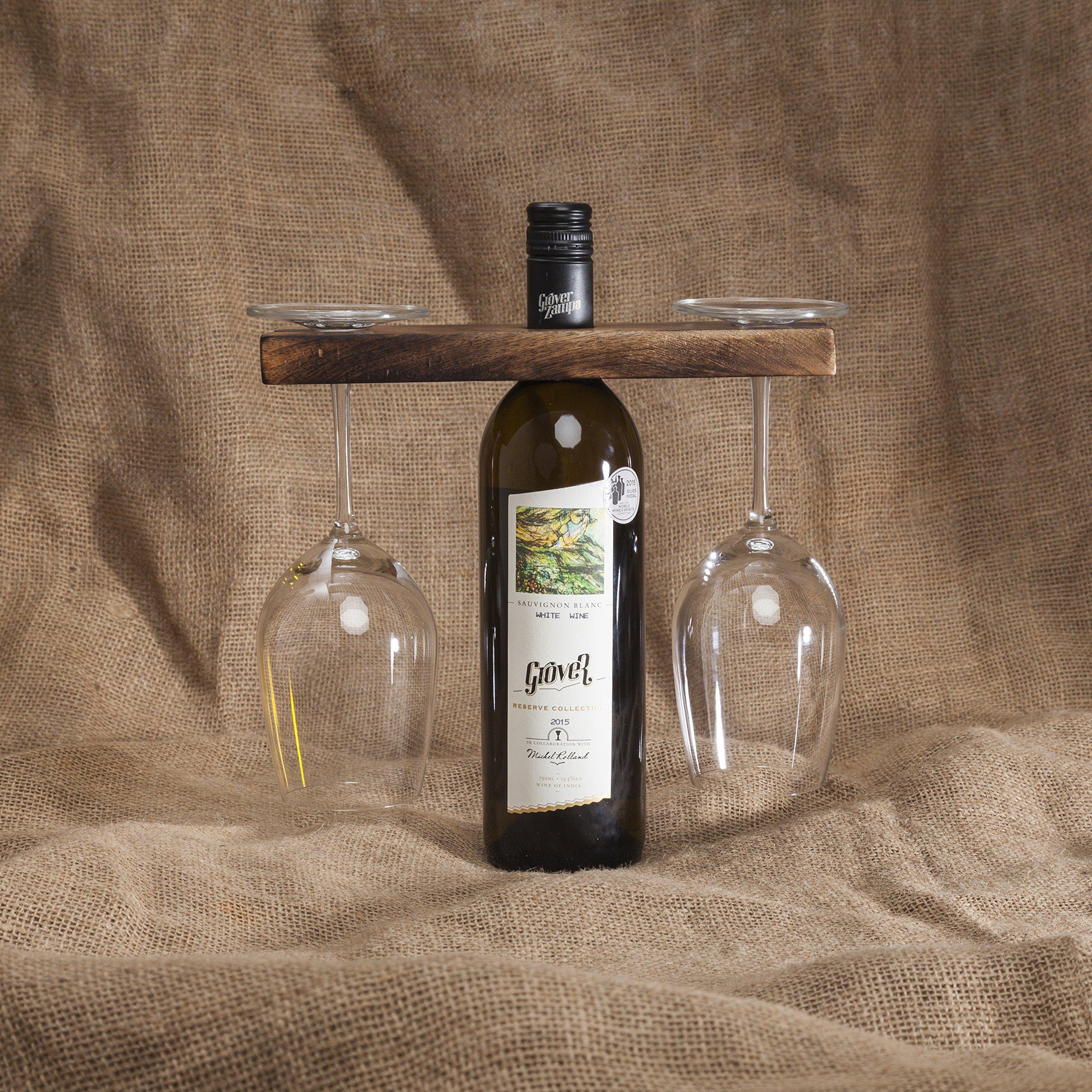 GoCraft Wine Bottle & Glass Holder | Handmade Antique Wood Stand for Wine for Two Glasses & Bottle