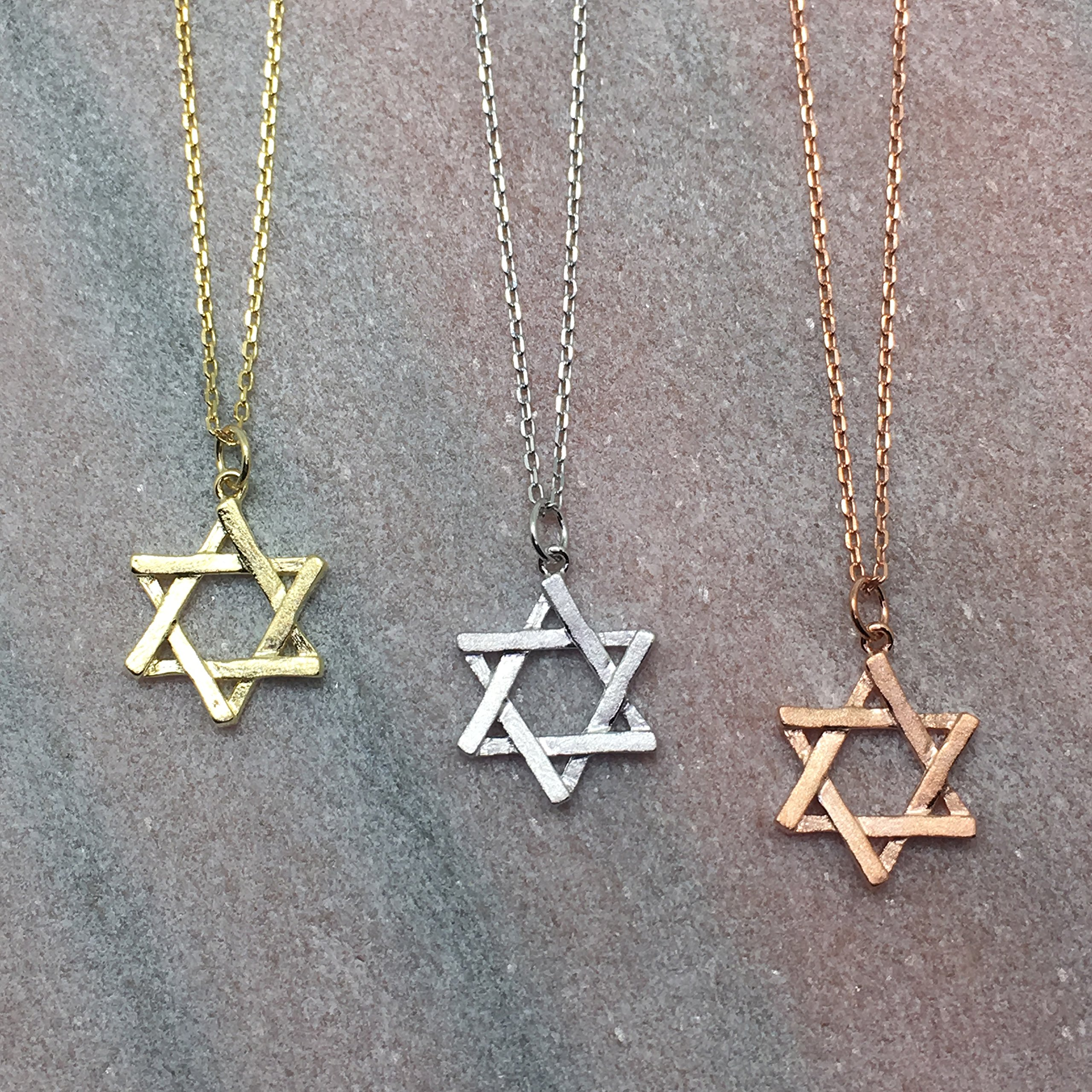 Rhodium Plated Silver Matte Finish Brush Textured 6 Point Jewish Star David Pendant Necklace, 18'' by Spoil Cupid (Image #4)