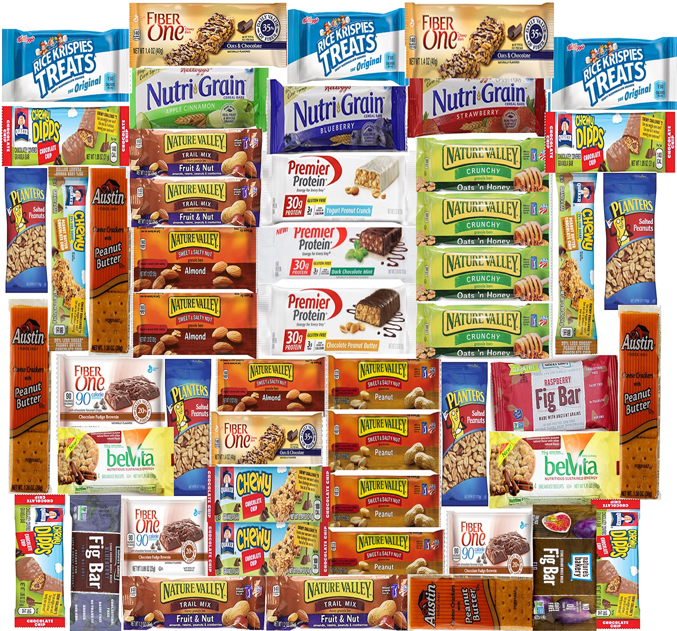 Ultimate Healthy Bar & Snacks Gift Variety Pack Bulk Sampler (Care Package 50 Count) by LA Signature