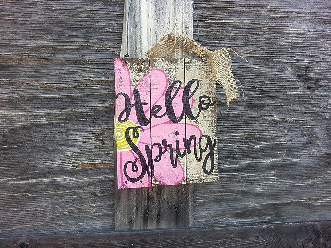 Amazon.com: Spring Door Hanger - Spring Sign - Spring Door Sign ...