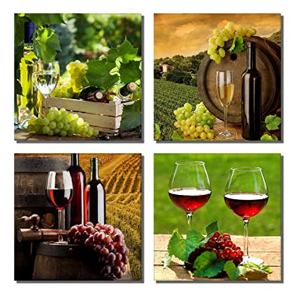 Amazon.com: 789Art - Grapes And Wine Canvas Wall Art Still Life Art ...