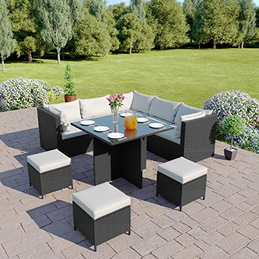 Awesome Modular Rattan Corner Garden Furniture Set   Cube Dining Table With  Footstool Ottomans   Light /