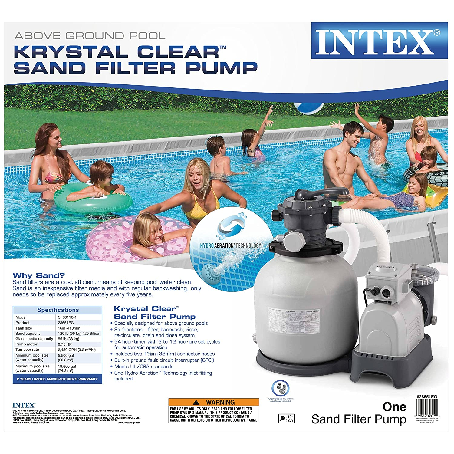 Amazon.com : Intex Krystal Clear Sand Filter Pump for Above Ground Pools,  12-inch, 110-120V with GFCI : Swimming Pool Sand Filters : Garden & Outdoor