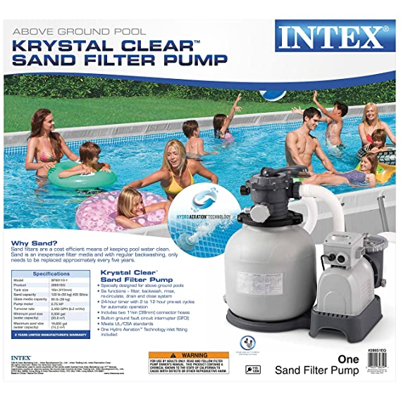Amazoncom Intex Krystal Clear Sand Filter Pump For Above Ground