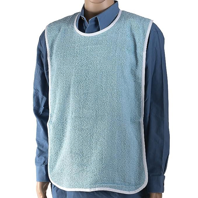 DMI - paciente ropa pantalla babero para adultos (Tejido de rizo, con gancho y cierre de velcro para hombres y mujeres, azul: Amazon.es: Salud y cuidado ...