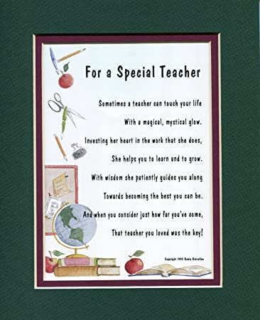 Amazoncom A Gift Poem Present For A Special Teacher Female 172