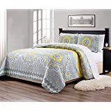 Linen Plus King/California King 3pc Over Size Quilted Bedspread Floral Yellow Coastal Plain/Gray Green New