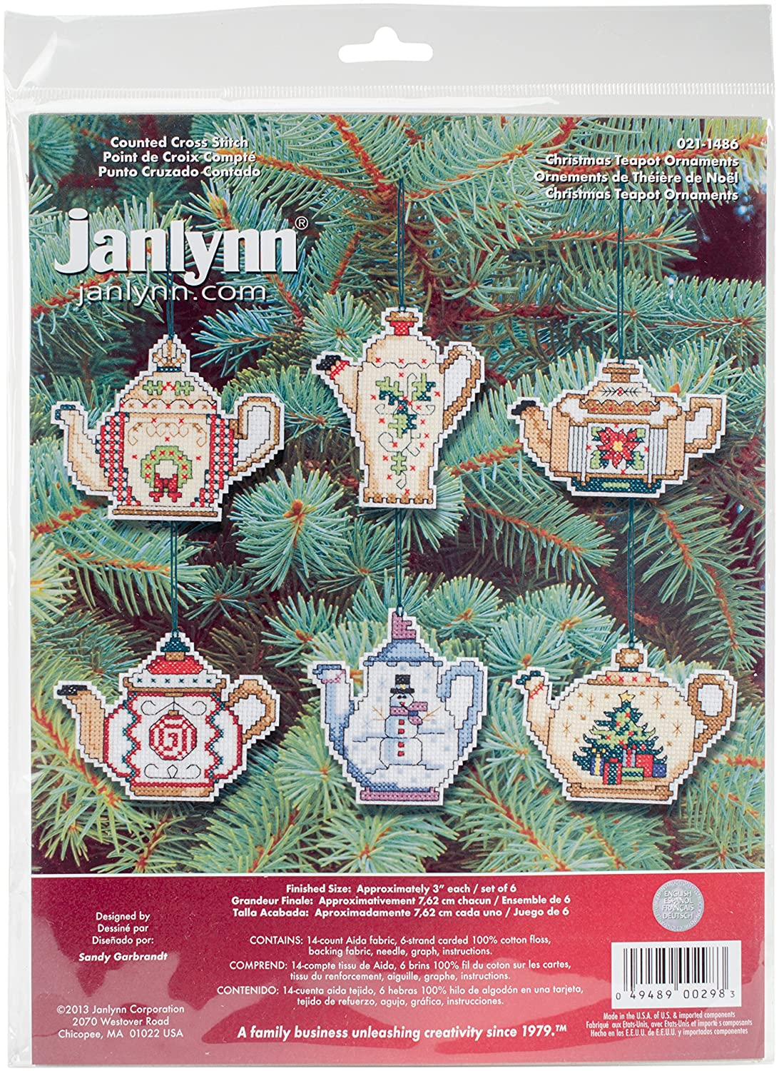 Prima Marketing 21-1486 14 Count Christmas Teapot Ornaments Counted Cross Stitch Kit, 3-Inch, Set of 6 Janlynn