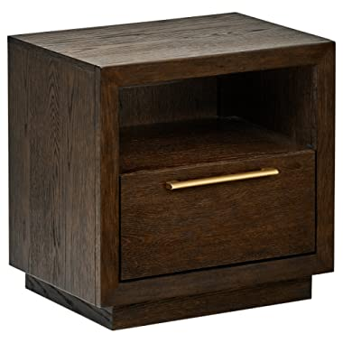 Rivet West Mid-Century Nightstand Bedside Table, 22 W, Dark Oak Finish