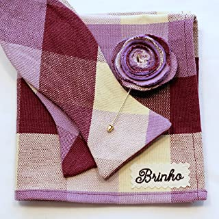 product image for Purple Plaid Bow tie, Pocket Square and Lapel Flower, Canvas Cotton Set