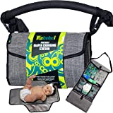 Rebebel Portable Changing Pad Clutch with Convertible Shoulder/Stroller Straps and Pockets for Wipes & Diapers – a Complete Compact Baby Diapering Station for Everyday and Travel