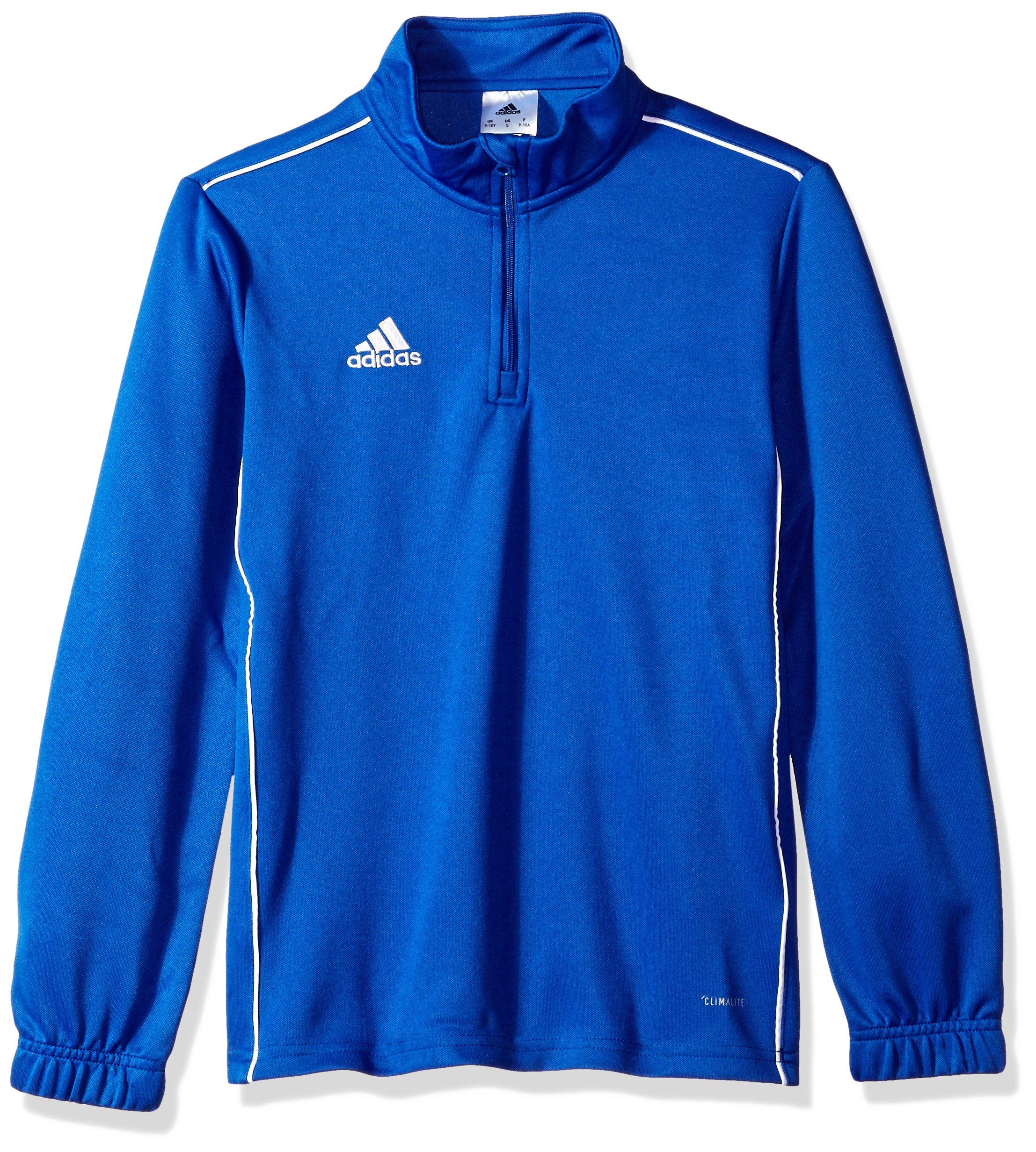 adidas Juniors' Core 18 Soccer Training Sweatshirt, Bold Blue/White, X-Small