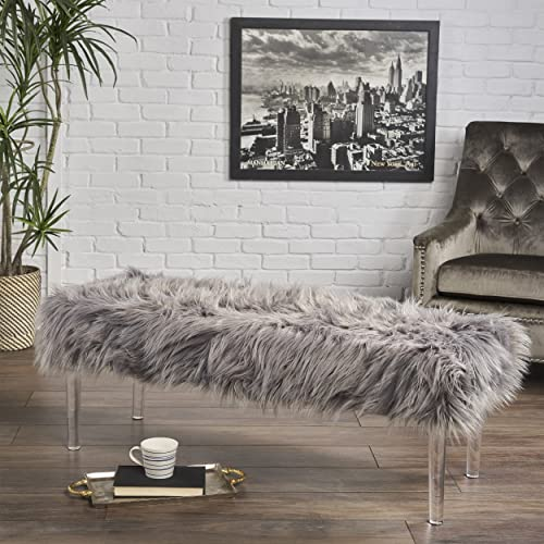 Christopher Knight Home Klamma Glam Grey Faux Fur Short and Straight Furry Ottoman with Clear Acrylic Legs