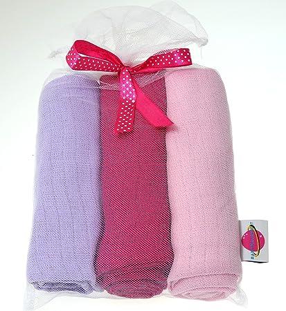 Babymajawelt® Pañales pastel 70x80 cm - pañales de tela, 3-pack, baberos