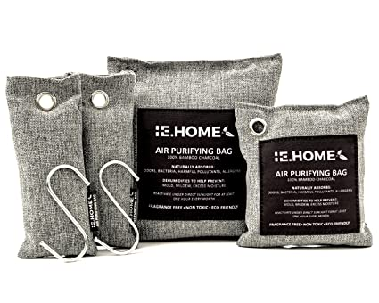 0543b0768230 HOME 100% All Natural Activated Bamboo Charcoal Air Purifying Deodorizer  Bags 4 Pack